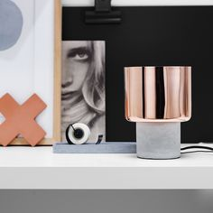 The Beacon Lighting Gaston 1 light table lamp with copper shade and concrete base