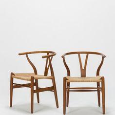 Paar Hans Wegner Wishbone Chairs CH24 - Okay Art