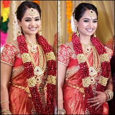 Traditional Southern Indian bride wearing bridal silk saree, jewellery and hairstyle. South Indian Bridal Jewellery, South Indian Weddings, Indian Bridal Makeup, Indian Bridal Fashion, Indian Bridal Wear, South Indian Bride, Bridal Jewelry, Kerala Bride, Hindu Bride