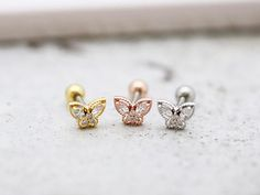 Butterfly Cartilage earring/Tragus earring/Conch piercing/Helix piercing/Earring/Piercing/Butterfly earring/CZ stud tragus/Rook piercing by MinimalBijoux on Etsy Solitaire Earrings, Tragus Piercings, Cartilage Earrings, Stud Earrings, Tragus Stud, Kids Gold Jewellery, Gold Jewelry, Custom Jewelry, Unique Jewelry