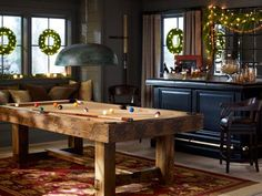 Pottery Barn Living Rooms Rustic | How fun is this pool table from http://www.PotteryBarn.com?