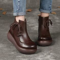 fc9a0a0f Winter Ethnic Style Retro Soft Bottom Leather Boots