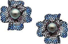 Estate Jewelry:Earrings, South Sea Cultured Pearl, Sapphire, Diamond, Gold Earrings. ... Image #1