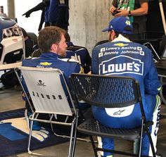 Jimmie Johnson visits with Dale Jr. at Indy during practice, 2017