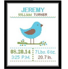 1 Cross Stitch custom Pattern Baby Boy Personalised Birth Announcement Birth Record Bird Blue Green Brown Nature Woodland Nursery Gift