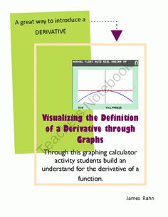 Visualizing the Definition of a Derivative through Graphing from jamesrahn on TeachersNotebook.com - (7 pages) - Through this graphing calculator activity students build an understand for the derivative of a function.