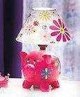 GIRLS BEDROOM HANDPAINTED PINK PIG TABLE LAMP FLORAL DESIGN