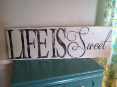 Life is Sweet Hand Painted Sign by TheHouseofBelonging on Etsy, $45.00