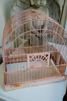 Vintage pink birdcage by Maison Douce, via Flickr