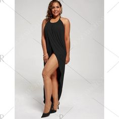ff11351d19f Plus Size Halter High Slit Dress - Black Xl