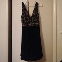 Little black dress with lace Knee length lbd with lace detail at the top and flowy skirt. ❌ trades ❌ paypal lipstick Dresses