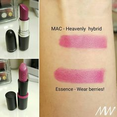 Alert Dupe !  MAC Heavenly hybrid lipstick and Essence Wear berries lipstick #lipstick #dupe #maccosmetics
