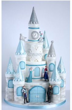 "Frozen Cake"" Corinne's mum wanted a more traditional castle for a more princessy feel, but I added a touch of sparkly snowflakes to make it to this year's most wanted theme, Frozen. The whole castle cake was based on McGreevy Cakes's free. Disney Frozen Castle, Frozen Castle Cake, Frozen Theme Cake, Frozen Themed Birthday Party, Castle Cakes, Disney Castle Cake, Bolo Rapunzel, Pastel Frozen, Castle Birthday Cakes"