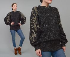 Vintage 80s Black Metallic Sweater Floral Beaded 1980s Batwing Sleeve Slouchy Knit Jumper by SHOPPOMPOMVINTAGE #80s #80sfashion #sweater #beaded #batwing #batwingsleeves #80sfashion #vintagesweater #metallic #black #knit