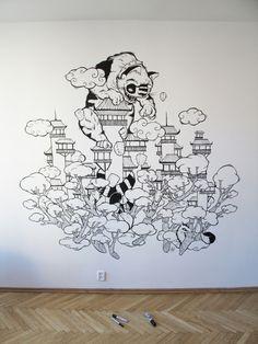 Creatures in Japan / Wall illustration by luiza kwiatkowska, via Behance