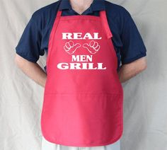 Cute Personalized Aprons for Women | Real Men Grill Personalized Aprons Mens Womens by Tees2Express, $19.99