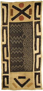 Kuba cloth -Graphically distinctive and richly evocative of central Africa, Kuba cloth is hand-woven using the strands from raffia palm leaves. The raffia strands are dyed in a variety of earth tones using vegetable dyes. There are two main types of Kuba cloth: cut pile cloths and flat-woven cloths with no pile. Kuba cloths display a variety of interesting features including patchwork, embroidery, appliqué and embellishments.