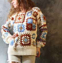 Vintage 1970s Hippie Granny Square Patchwork Crochet Sweater Top
