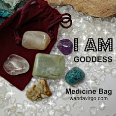 Goddess Crystal Medicine Bag I AM connecting with my Goddess Energy I AM Goddess expressing my Divine attributes, fully empowered with ease & grace! by CrystalVibrations06 on Etsy $12.12  #goddess #crystal http://wandavirgo.com