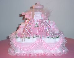 488 Best Baby Girl Diaper Cakes Images Baby Shower Diapers Cakes