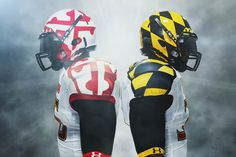 I'll be honest at first i HATEd these uniforms, but the more and more i see them, the more they grow on me. Maryland football uniforms by Under Armour. College Football Uniforms, Sports Uniforms, Ua Uniforms, Cool Football Helmets, Football Gear, Flag Football, Football Design, Dame Game, Under Armour Football