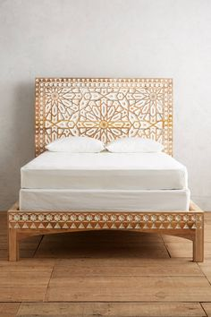 Handcarved Albaron Bed and more Anthropologie.This handcarved bedroom centerpiece features a two-toned motif - inspired by a dramatic Moroccan entryway Hanging Furniture, Rustic Furniture, Bedroom Furniture, Home Furniture, Business Furniture, Furniture Design, Dark Furniture, Furniture Removal, Furniture Movers