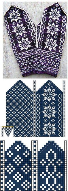 Mitten with Jacquard – 'Winter Rainbow' Knitting Charts, Knitting Stitches, Knitting Designs, Knitting Needles, Knitting Projects, Knitting Patterns, Filet Crochet Charts, Knitted Mittens Pattern, Knit Mittens