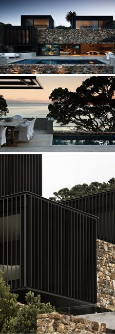 """Waiheke Island Local Rock House"": Indigenous stone from Waiheke, an island off the New Zealand coast, creates a bridge and grotto-like living area between vertical wood-louvered volumes. The overall effect of this summer home is striking, combining elements both rustic and modern. 