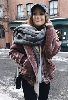 velvet bombers + cashmere scarf