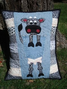 Cow Denim Pillow made with recycled jeans by BackPocketDesign, $85.00