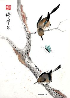 """""""Kindred Hearts""""  Spontaneous (Xie Yi) style Chinese brush painting by bgsearle."""