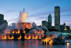 The Clarence F. Buckingham Memorial Fountain (301 S Columbus Dr, Chicago, IL) is one of the largest fountains in the world. It operates from April to October, with regular water shows and evening color-light shows.