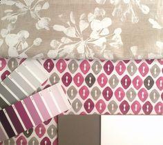 Selección de coordinados en telas, lacas y pintura paredes para dormitorio.