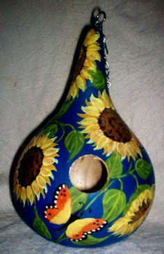 Sunflowers, Butterflies Royal Blue Painted Gourd birdhouse Garden Yard/ Art