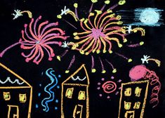 Feuerwerk über der Stadt Tropfbatik  Herbst basteln ...
