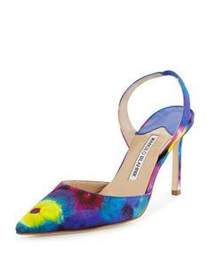 Carolyne+Tie-Dye+High-Heel+Pump,+Multicolor+by+Manolo+Blahnik+at+Neiman+Marcus.