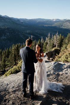 Yosemite elopement sunrise first look | Image by Authentic Collective Wedding Advice, Wedding Blog, Destination Wedding, Yosemite National Park, National Parks, Living On The Road, Yosemite Wedding, Yosemite Falls, Wedding Officiant