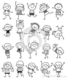 Groupe d enfants, croquis de dessin