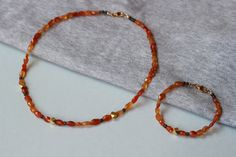 SAVE 20% Carnelian Faceted and Smokey Quartz Gemstones with 24k Gold Vermeil Cube Beads Set Necklace and Bracelet by ILgems on Etsy