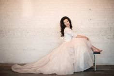 A lace bodice and a fun, flirty skirt create a romantic & vintage feel for your wedding day. Find more gorgeous Wedding Gown Separates by Martina Liana and WToo at The Bridal Collection in Denver, CO. Photo: Liz Weitz Styled by: Maureen Mika