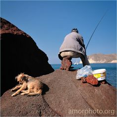 fishing in Santorini, Greece