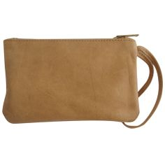 Genuine leather wristlet - Crema brown