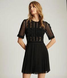 Athena Black Lace Detailed Mini Dress – REISS