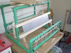 Beautiful new PVC Loom from a maker in Portugal. Weaving Loom Diy, Inkle Weaving, Weaving Tools, Inkle Loom, Card Weaving, Tablet Weaving, Weaving Art, Tapestry Weaving, Pvc Pipe Projects