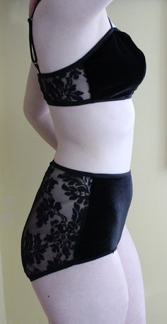 Black Velvet and Patterned Mesh Soft Bra and Panty set by XamiaArc, $90.00