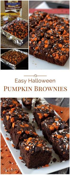 Easy Halloween Pumpkin Brownies Pumpkin brownies are a great fall dessert! This quick and easy Halloween Pumpkin Brownies recipe starts with a brownie mix, so it comes together in a flash. Dulces Halloween, Halloween Sweets, Halloween Baking, Halloween Goodies, Halloween Food For Party, Halloween Brownies, Halloween Dessert Recipes, Halloween Ideas, Creepy Halloween
