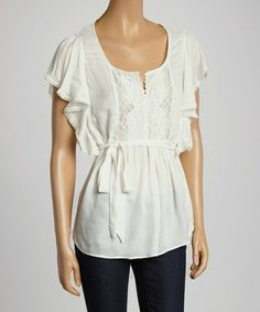 Another great find on #zulily! White Embroidered Cape-Sleeve Top by Janet Paris #zulilyfinds