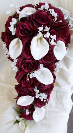 Silk Cascade burgundy and white bridal by VictoriaSilkDesigns