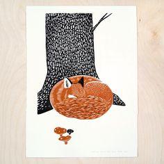 Image of linocut print: Sleeping Fox (A series)