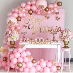 Pink and Gold Party Balloon Garland & Arch Latex Balloons, 16 Feets Arch Balloon Strip Tape, Glue Dots, Tying Tool for Birthday Baby Shower Bridal Shower Wedding Party Backdrop Baby Girl Shower Themes, Girl Baby Shower Decorations, Baby Shower Princess, Baby Boy Shower, Birthday Balloon Decorations, Birthday Balloons, Birthday Cake, Cadeau Baby Shower, Butterfly Baby Shower